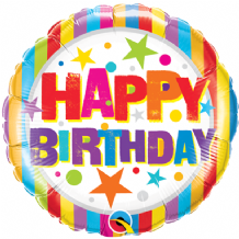 "Birthday Stripes & Stars Foil Balloon (9"" Air-Fill) 1pc"